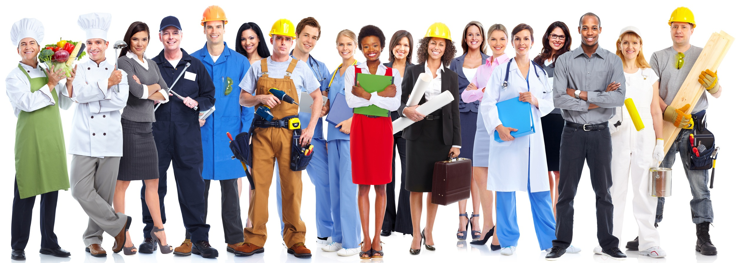 ilustrasi potret karyawan dengan bidangnya