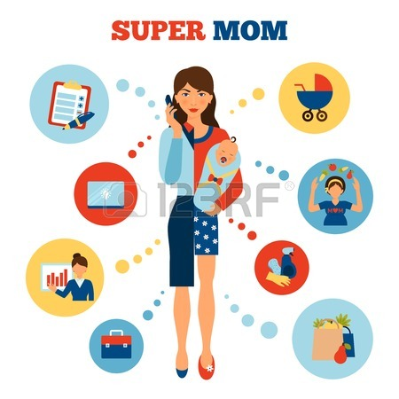 ilustrasi bisnis ibu rumah tangga wanita karir businesswoman mother
