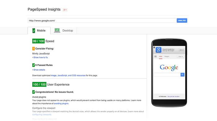 img google page insights