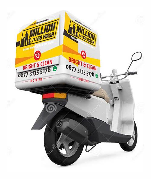 gambar bisnis di jasa kebersihan cuci motor dan mobil million gowash