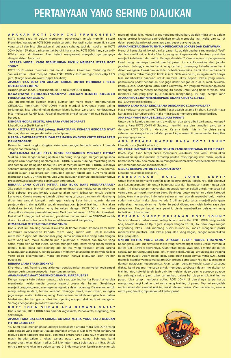 daftar pertanyaan dan jawaban seputar franchise roti john